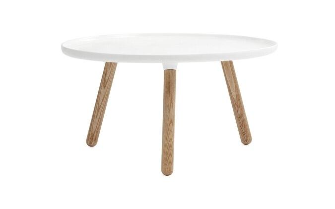 Tablo Side Table DIA78*H43 CM Fiberglass Table Top Ash wood Legs