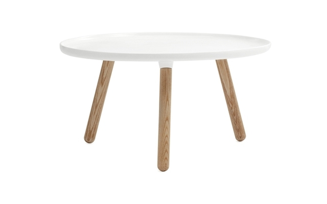 Tablo Side Table DIA78*H43 CM Fiberglass Table Top Ash Wood Legs