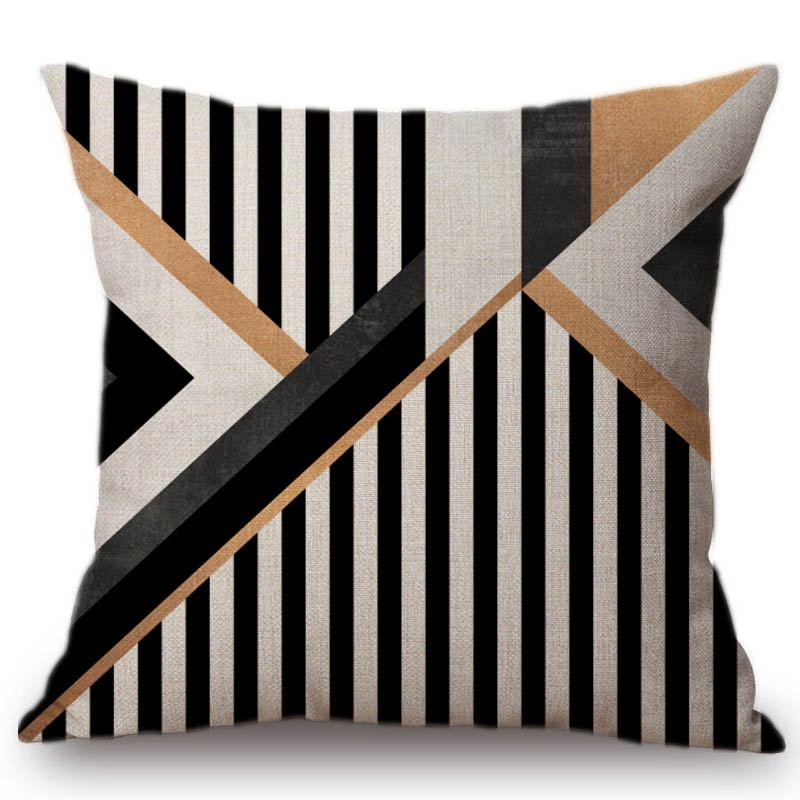 Nordic Geometrics Stripes Combination Decorative Throw Pillow Cover Fashion Cotton Linen Concise Car Pillow Sofa Cushion 45x45cm