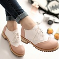 2015 New Sweet Oxford Casual Shoes For Women High Quality Patchwork Thick Heel Brogue Shoes Women Plus Size Female Student Shoes