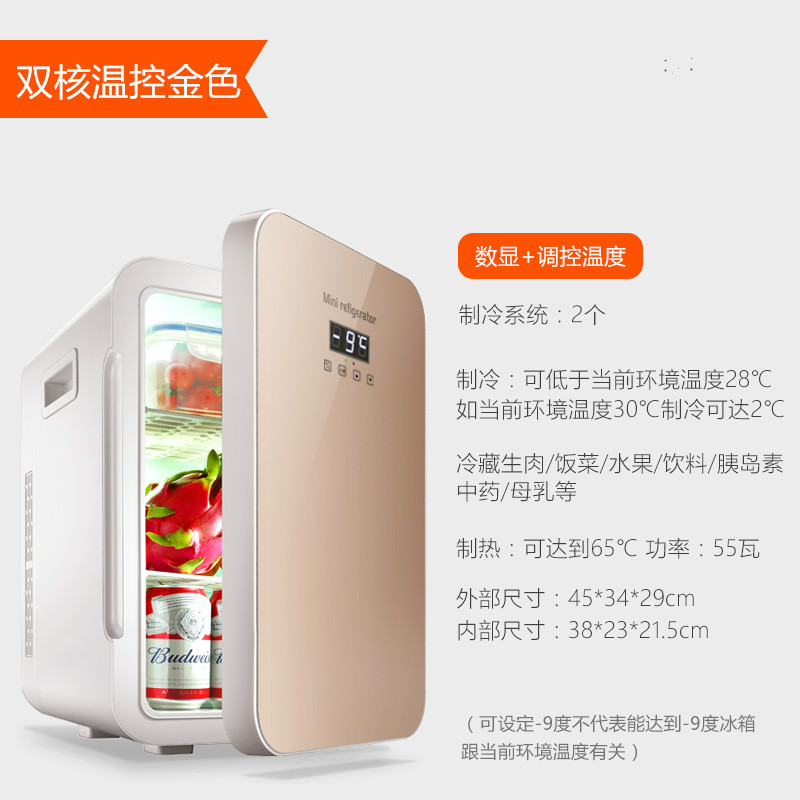 Mini Fridge 22L Refrigeration Car Small Refrigerator Mini Small Home Bedroom Dormitory Car Home Dual-use Student Single Door