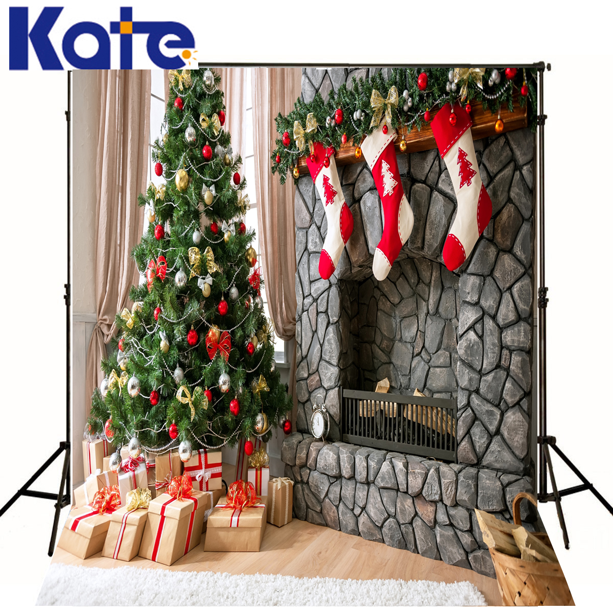 Christmas Backdrop Green Tree Red Socks Photography X-mas Props Background For Photo Fond Studio Shoot Camera Child Kate kate christmas background photography no wrinkle seamless red snow backdrops for photography photo booth fond studio 7x5ft