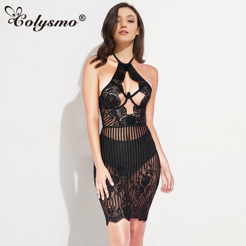 Black Sheer Lace Mini Dress