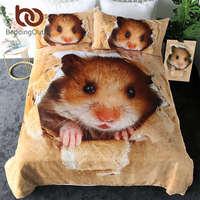 BeddingOutlet Hamster nevresim takımı Papery Baskı Nevresim 3D Canlı Kahverengi Fare çarşaf Güzel Çocuk Ev Tekstili 3 adet|Yatak Takımları|Ev ve Bahçe -