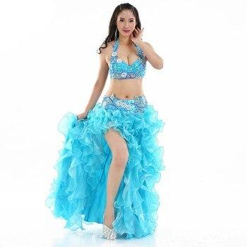 2018 Belly Dance Costume 3pcs Full Set Bra Top+hip Belt+bubble Skirt Dancewear