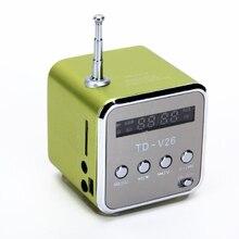 TD V26 haut parleur przenośny Mini et cyfrowy mody Micro SD/TF/USB/FM Vert