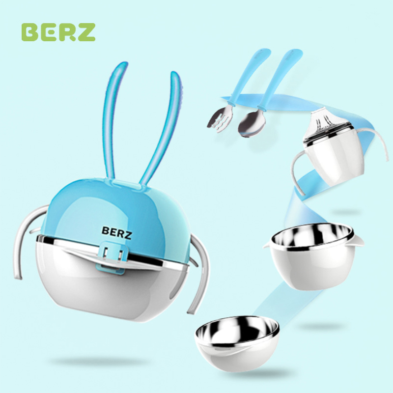 BERZ metal Baby bowl spoon fork Feeding Food Tableware cute Kids Dishes Baby Eating Dinnerware Set Anti-hot Training Bowl Spoon 3 pcs silicone facial mask bowl stick spoon set