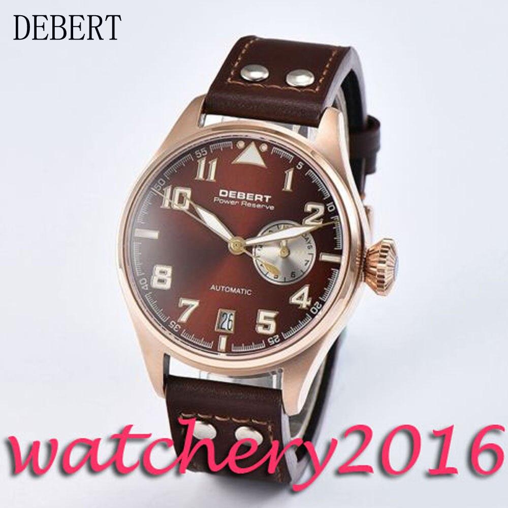 Sport 42mm Debert coffee dial date adjust rose golden case power reserve Automatic movement men's Watch цена и фото