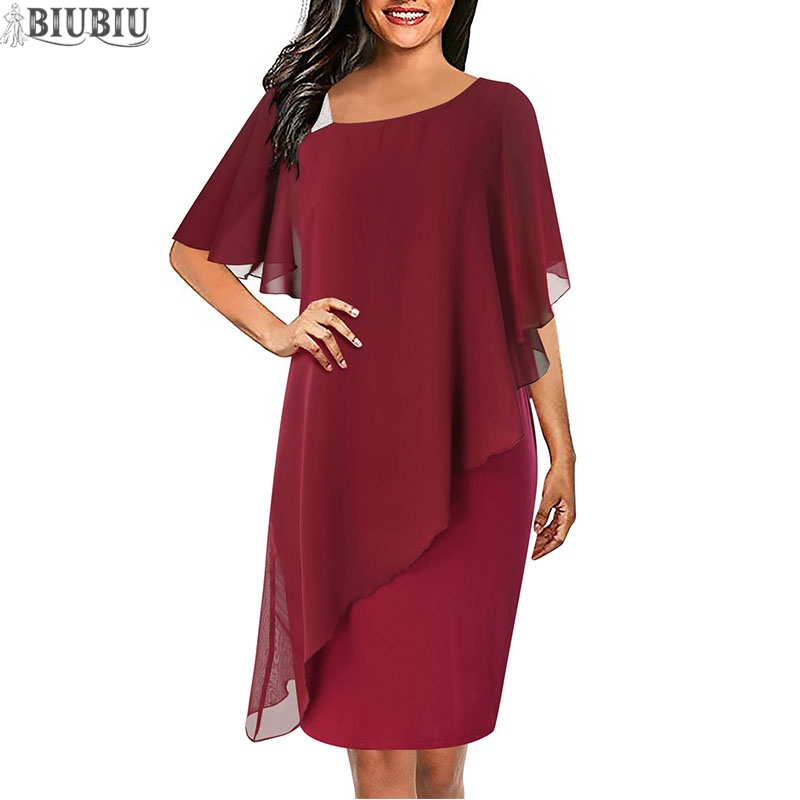 BIUBIU Office Lady Women Dress Chiffon Patchwork Solid Sheath Short Sleeve Midi Gown Party Woman Spring Vestidos De Fiesta