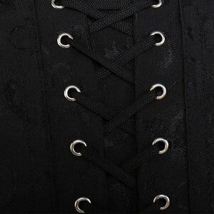 Image 3 - Sprial Thép Boned Steampunk Áo Nịt Ngực Và Bustiers Gothic Thổ Cẩm Underbust Lace Up Corset Đen Cái Yếm Của Côn Trùng Cộng Với Kích Thước TYQ