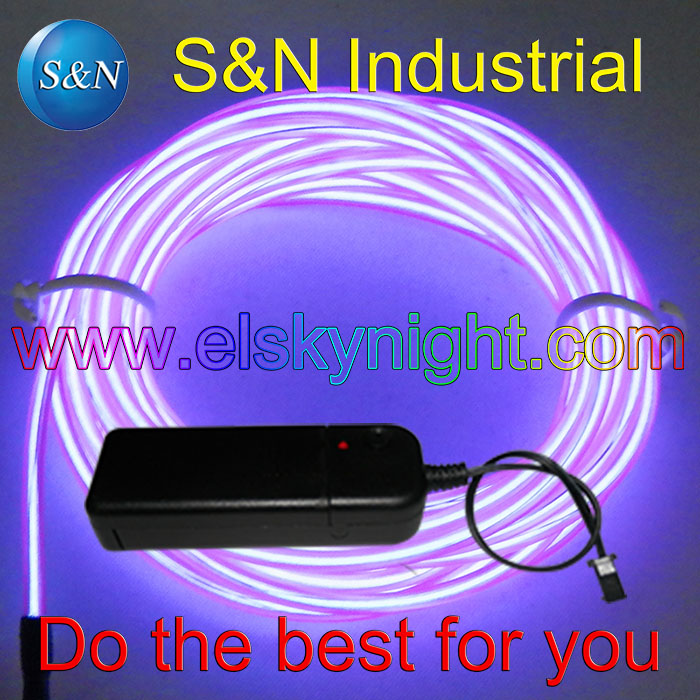 Purple 4M Softy Neon Light EL Wire Glow Rope Tube With Controller 10 Colors For Holiday Decoration Creative Usage Free Shipping