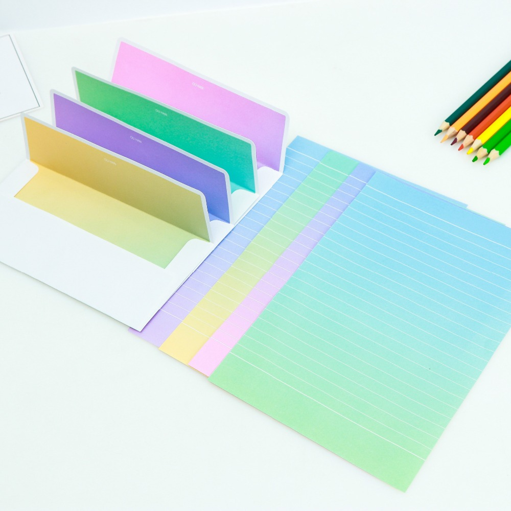 Gradient Paper Candy Color Writing Envelope Paper Gradient Writing Paper 40-Pack
