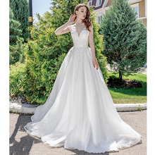 Verngo A-line Wedding Dress Appliques Tull Wedding Gowns Lace-up Elegant Princess Bride Dress Sleeveless Vestido De Noiva 2019