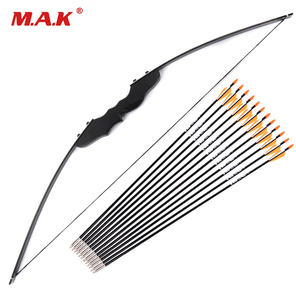 30 40 Lbs Straight Bow Length 50 Inches and 3 Style 12 Pcs Arrow Suit the