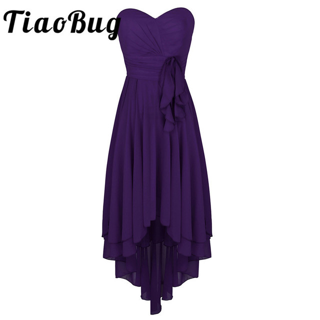 012cf1482a TiaoBug Elegant Women Ladies Sweetheart Strapless High-low Chiffon  Bridesmaid Dresses Formal Occasion Party Prom Gowns Dress
