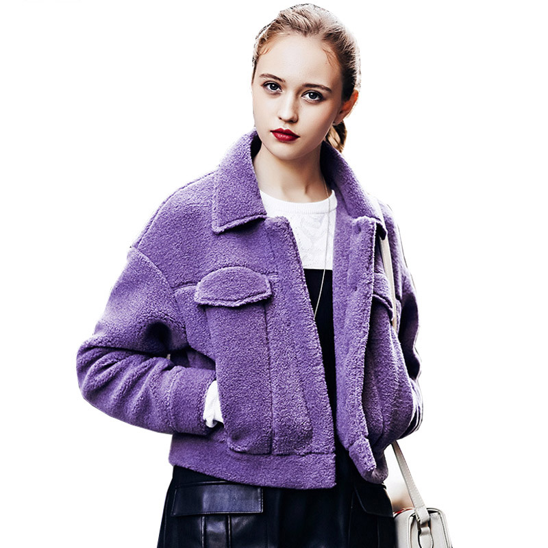 New 2017 Autumn Winter Jacket Women Short Shealing Sheepskin Coat Thick Warm Covered Buttons Purple Grey Coats WF52762