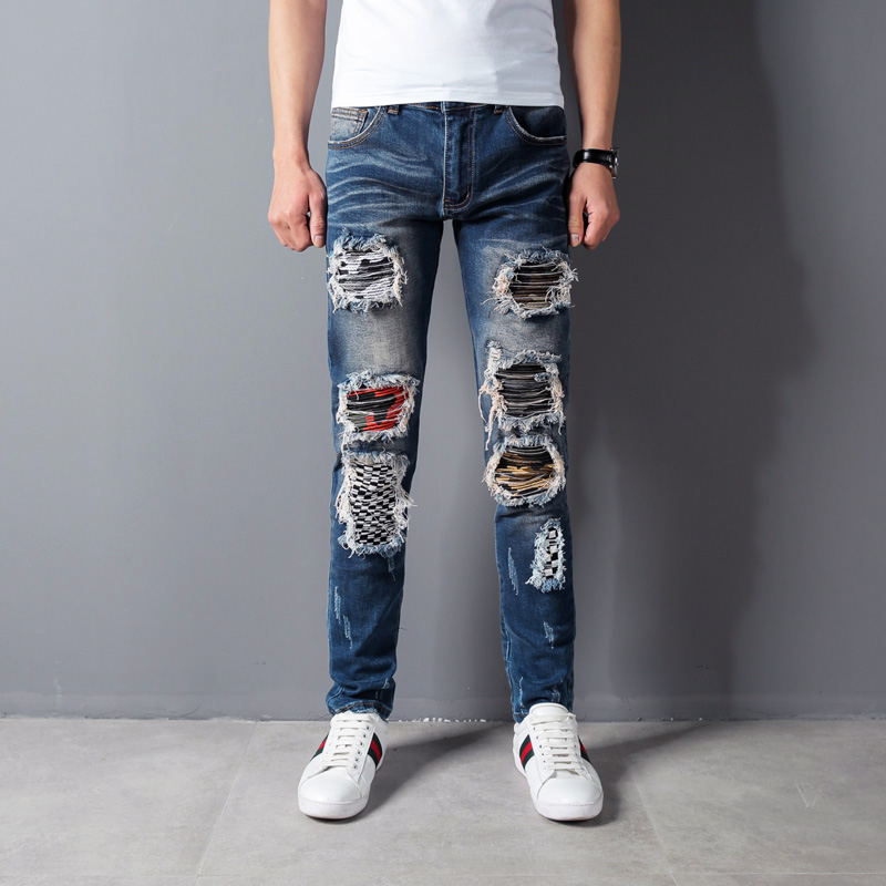 Blue Color Destroyed Ripped Jeans Men Patchwork Embroidery Denim Punk Pants Hip Hop Jean ...