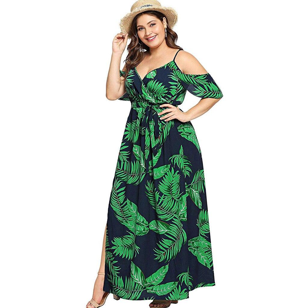 2020 female Vintage dress Women's Plus Size V-neck Print Elegant Dress With Belt And Big Size Dress party