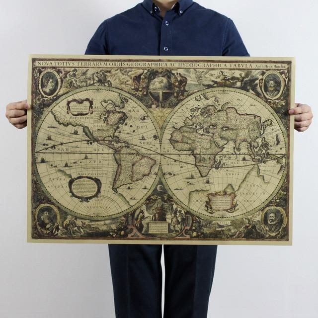 Rétro Carte Du Monde Nautique Océan Mer cartes vintage Kraft Papier Affiche Tableau Mural Autocollant décor Antique Accueil Carte Du Monde 70x51 cm