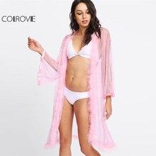 COLROVIE Faux Fur Trim Mesh Robe
