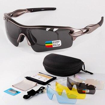 e47b53f07c 2019 nuevos deportes gafas de sol polarizadas de la motocicleta UV400  protección gafas de ciclismo montar deporte gafas 5 lentes