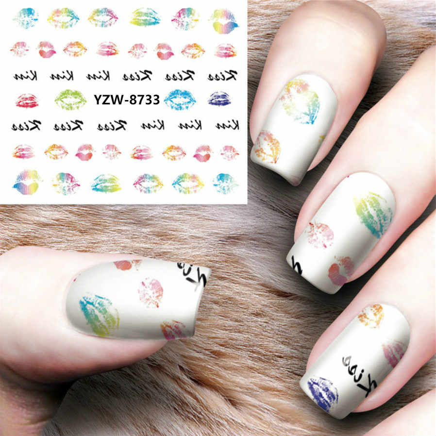 1 Sheet Nail Decorations Art Tips Feather Water Transfers Nail Sticker for Ladies Feather Decals Nail Art Tools YZW8733