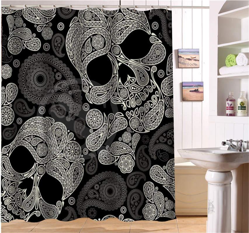 WJY425Y21 Custom The colorful skulls Fabric Modern Shower Curtain bathroom Waterproof XY21