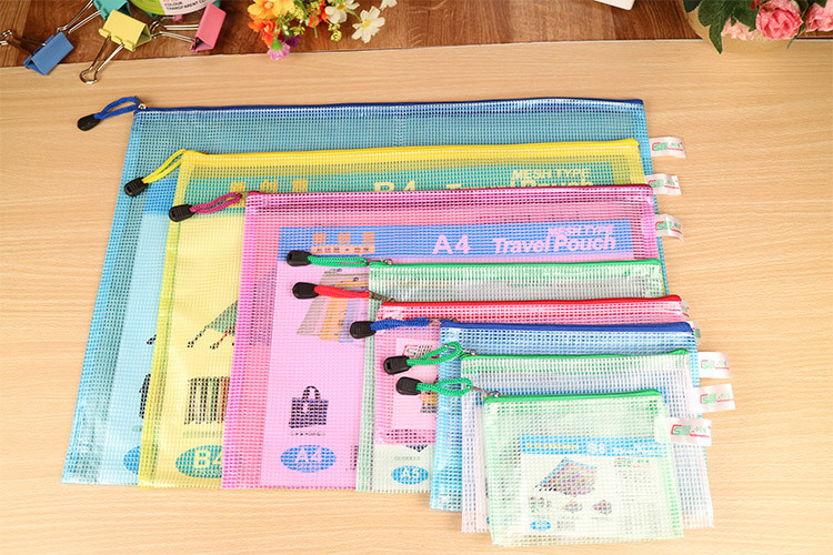 Mesh Zipper File Folders Document Bag Zip Waterproof Plastic Folder Travel Pouch