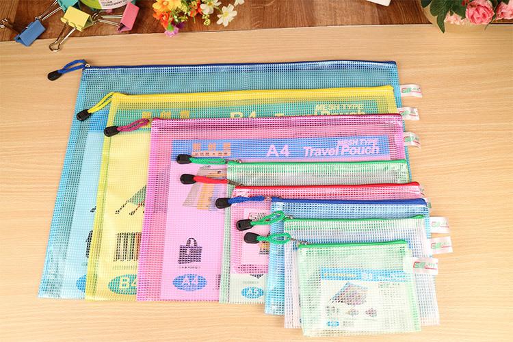 Mesh Zipper File Folders Document Bag Zip Waterproof Plastic Folder Travel Pouch