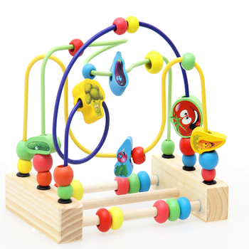 Wooden Math Toy Counting Circles Bead Abacus Wire Maze Roller Coaster Montessori Educational for Baby Kids 1