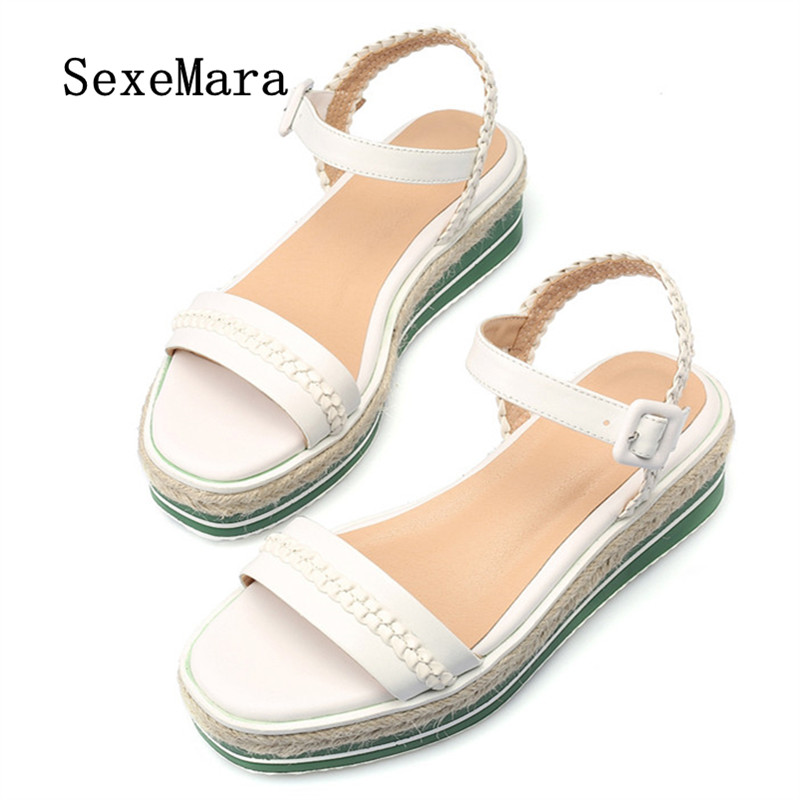 ФОТО SEXEMARA 2017 New Buckle Straw Women Sandals Wedges Square Head Clear Shoes Genuine Leather Youth Fashion Summer Sandals Woman