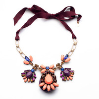 Fashion Design New Arrival Resin Bohemia Ribbon Flower Pendant Ladies Rope Chain Necklace
