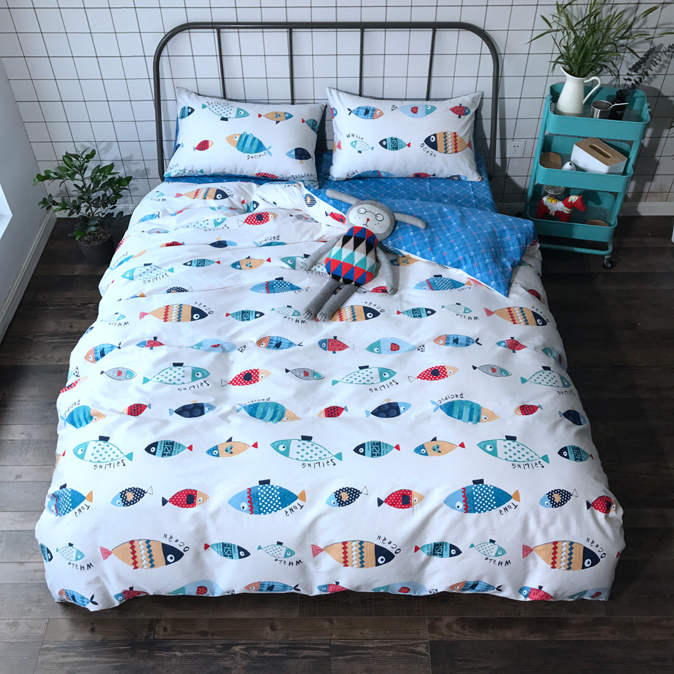 Cartoon Bedding Set High Quality Bed Sheet Modern Design Bedclothes 100 Cotton Duvet Cover Linen Queen Size