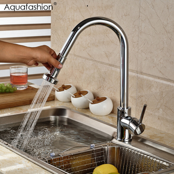 Chrome Cold and Hot Kitchen Tap Brass Single Hole Kitchen Faucet Pull Out Single Handle Tap torneira cozinha