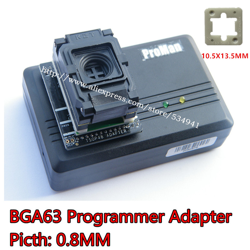 0 8MM BGA63 IC programmer adapter BGA63 to DIP48 IC Test Socket 9X 11mm NAND proman
