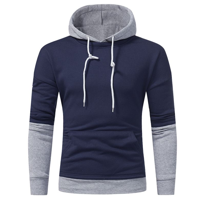 2018 new listing personality stitching hoodie men's brand autumn and winter hot casual fashion hip-hop sweatshirt men's pullover