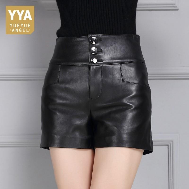 Female New Fashion Korean Style Straight Shorts Sheepskin Leather High Waist Casual Streetwear Punk High Quality Trousers Woman