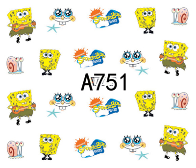 Nail Art Sticker Water Decals Cartoon SpongeBob Design Decoration Manicure Nails Slider Stickers Foil Wraps Pegatinas Polishing in Stickers Decals from Beauty Health