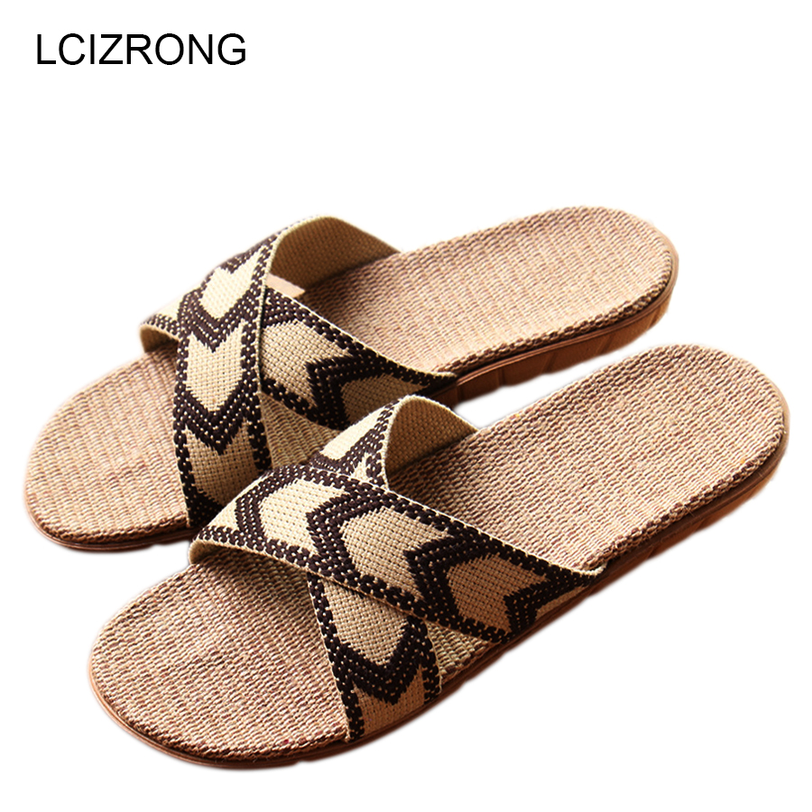 LCIZRONG Summer Men/Women Slippers Bohemia Beach Ladies Home Shoes Flax Straw Slippers Big Size Family Thick Soles Non-slip Flat suihyung design new women and men summer flat shoes hit color breathable hollow beach slippers flips non slip unisex sandals