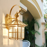 American Style Led Waterproof Cooper light Vintage outdoor wall Lamp wall Mounted Outdoor wall light surface mounted garden lamp