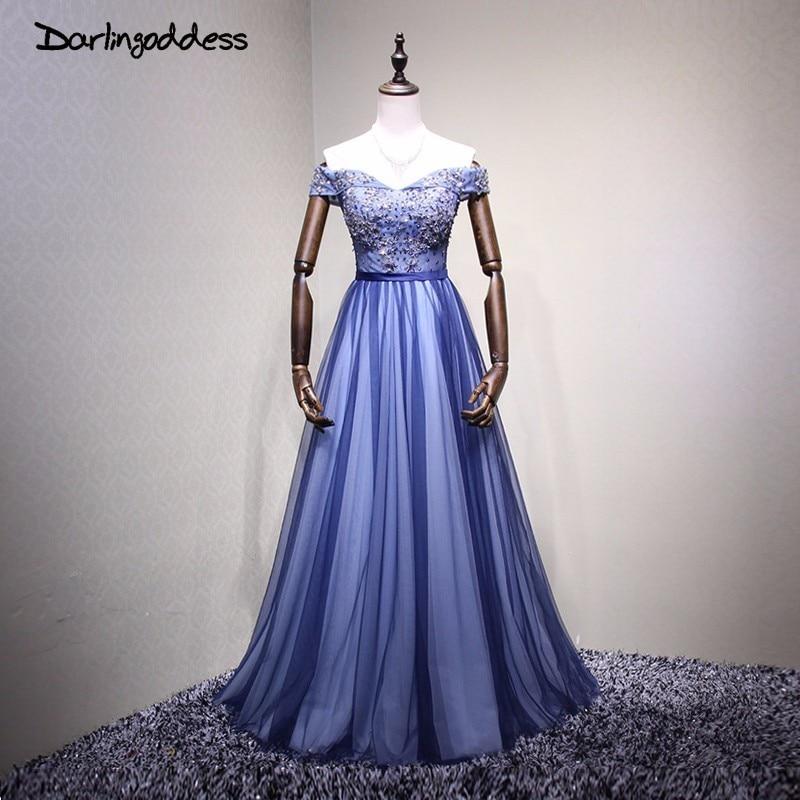 Darlindéesse Robe De soirée 2018 luxe longues bleu Royal robes De soirée chérie cristal formelle robes De bal Robe De soirée