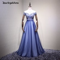 Darlingoddess Robe De Soiree 2018 Luxury Long Royal Blue Evening Dresses Sweetheart Crystal Formal Prom Dresses Evening Gown