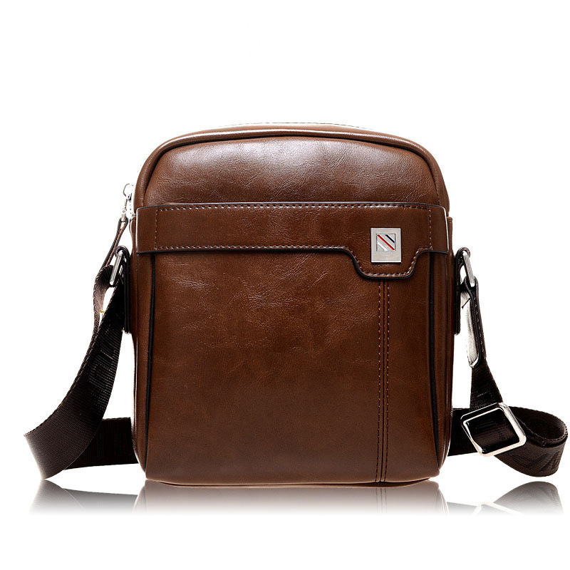 Famous Brand PU Leather Mens Single Shoulder Bag Small Flap Casual Messenger Bag Vintage Mens Crossbody Bag Business Handbag