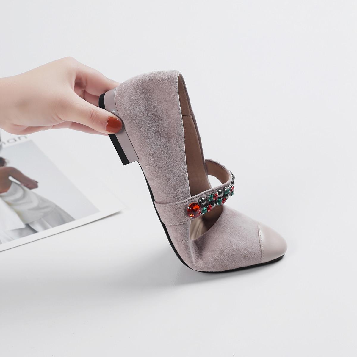Femmes En Suede Appartements Bling Bout Ballet Chaussures Confortable gris Plat Noir Cristal Élégant rose Lady Brillant Rouned Cuir qEwwx4UF