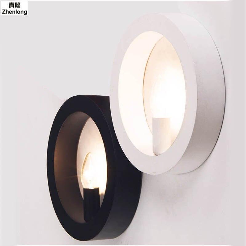 AC85-265V Modern Minimalist Sconce Wall Light Round Iron Candlelight Creativity Corridor Corridor Led Wall Lamp for Home E14 LED facilitating increased creativity for adults