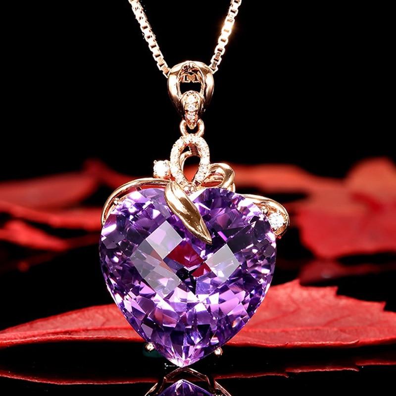 HTB1AbSuaQ9WBuNjSspeq6yz5VXaC Women Necklace Pendant High Quality Heart Shape Amethyst Pendant Rose Gold Necklace Jewelry Charm Wedding Party Fine Jewelry