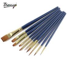 Bianyo 10 шт воды цвет краски кисти для детей, плоская нейлоновая краска ing кисти для художника масло цветная акриловая краска щетка с деревянной ручкой