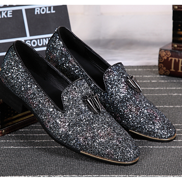 Choudory New Silver Leather Chaussure Homme Slip On Mocassin Men Flats  Glitter Mens Wedding Shoes Men Dress Shoes f3dcebe40190