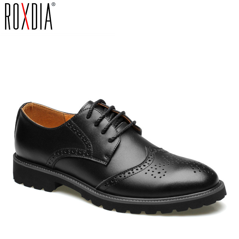 ROXDIA Genuine Leather Men Formal Shoes Brogue For Wedding Party Male Flat Men's Dress Shoes RXM060 Size 39-44