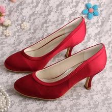 Wedopusส้นกลางปิดนิ้วเท้าไวน์แดงรองเท้าสตรีแต่งงานD Ropshipping